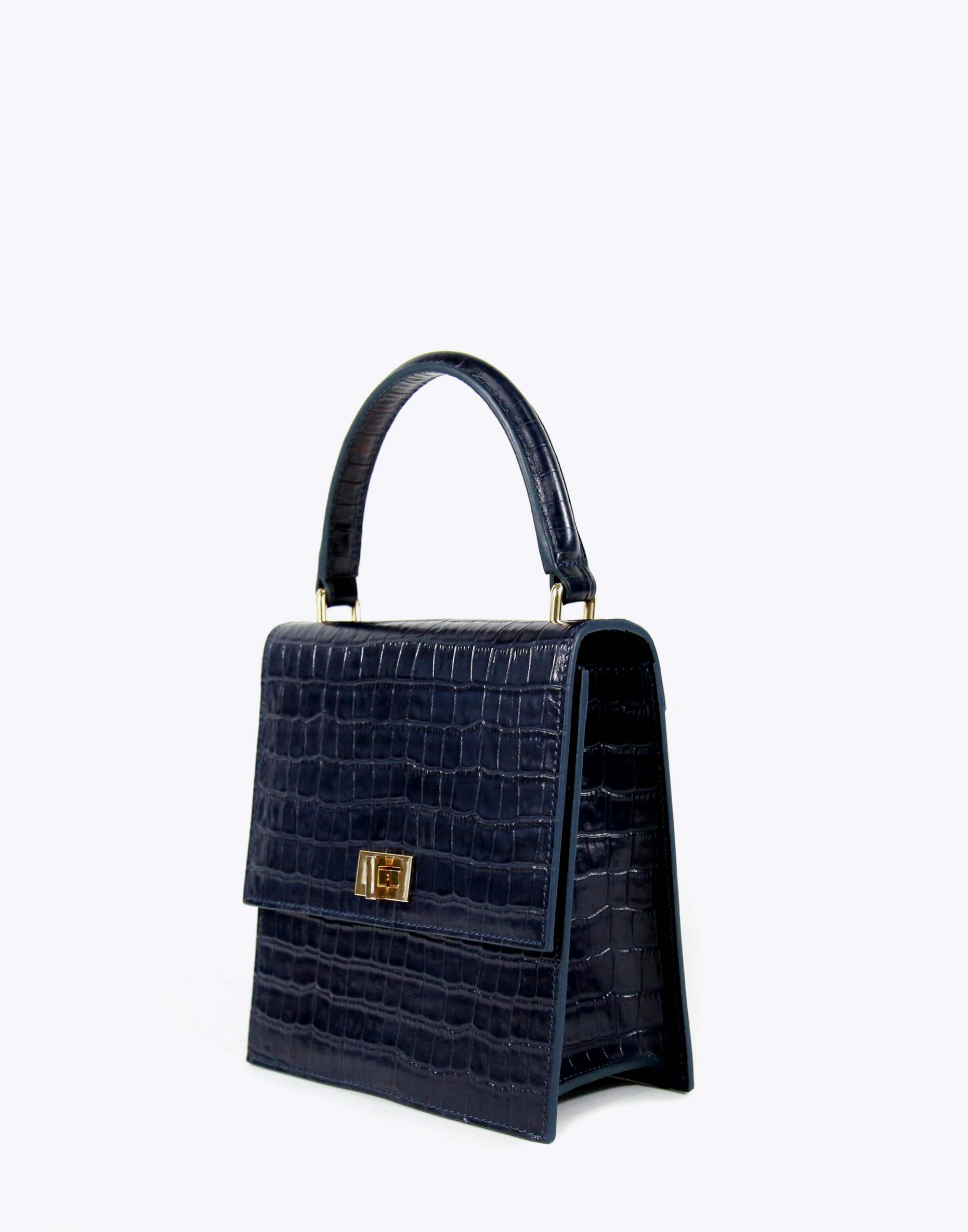 Neely & Chloe No. 19 Mini Lady Bag Croc Angle View Navy