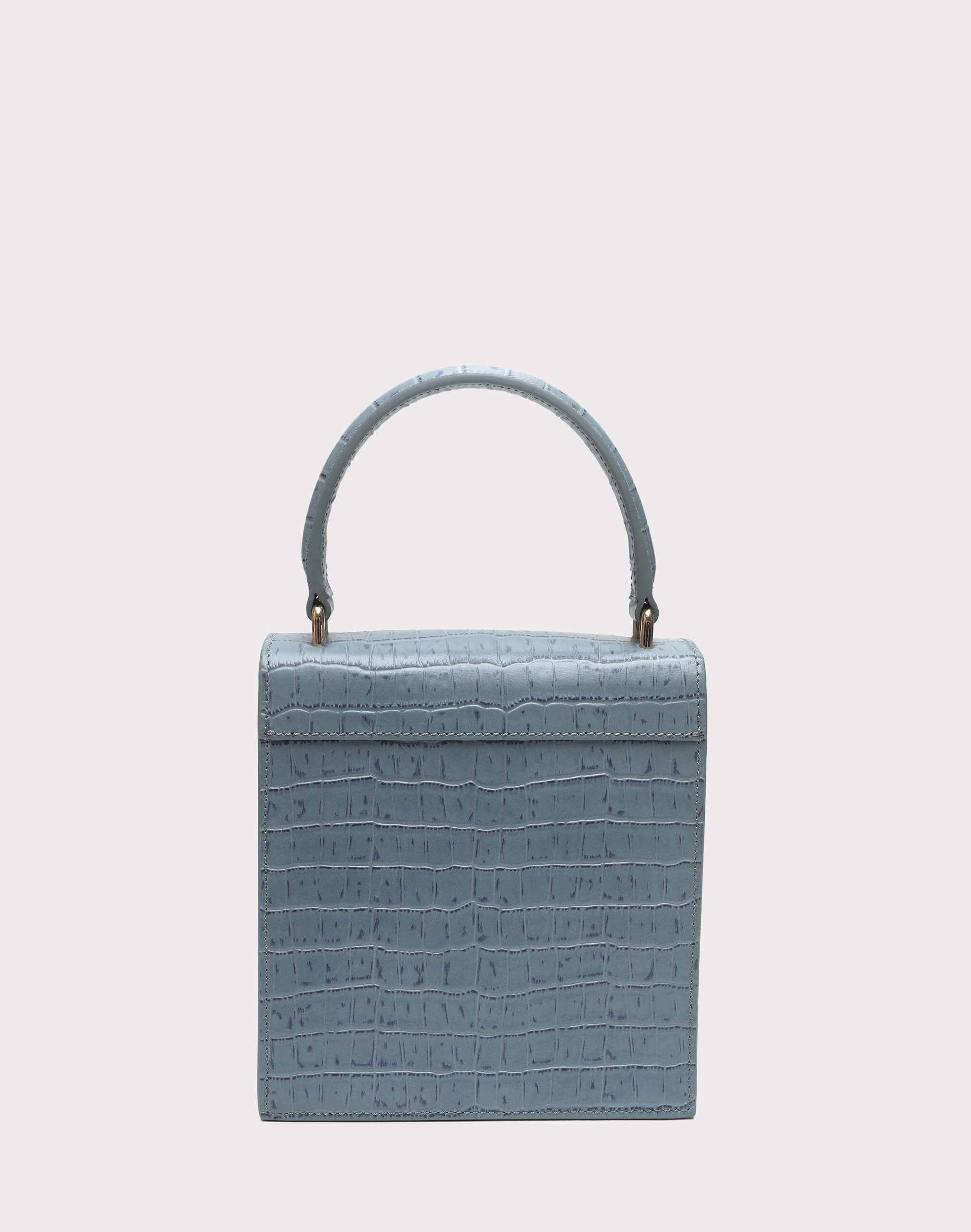 Neely & Chloe No. 19 Mini Lady Bag Croc Back View Steel Blue