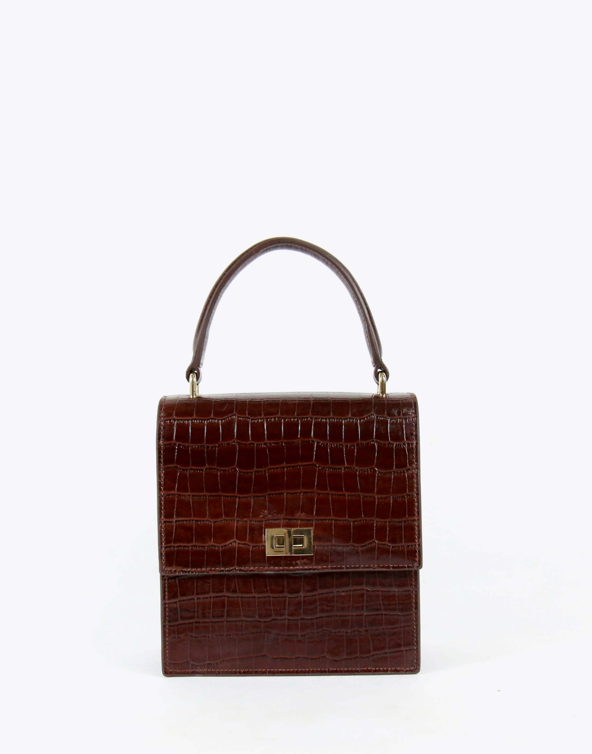Neely & Chloe No. 19 Mini Lady Bag Croc Front View Brown