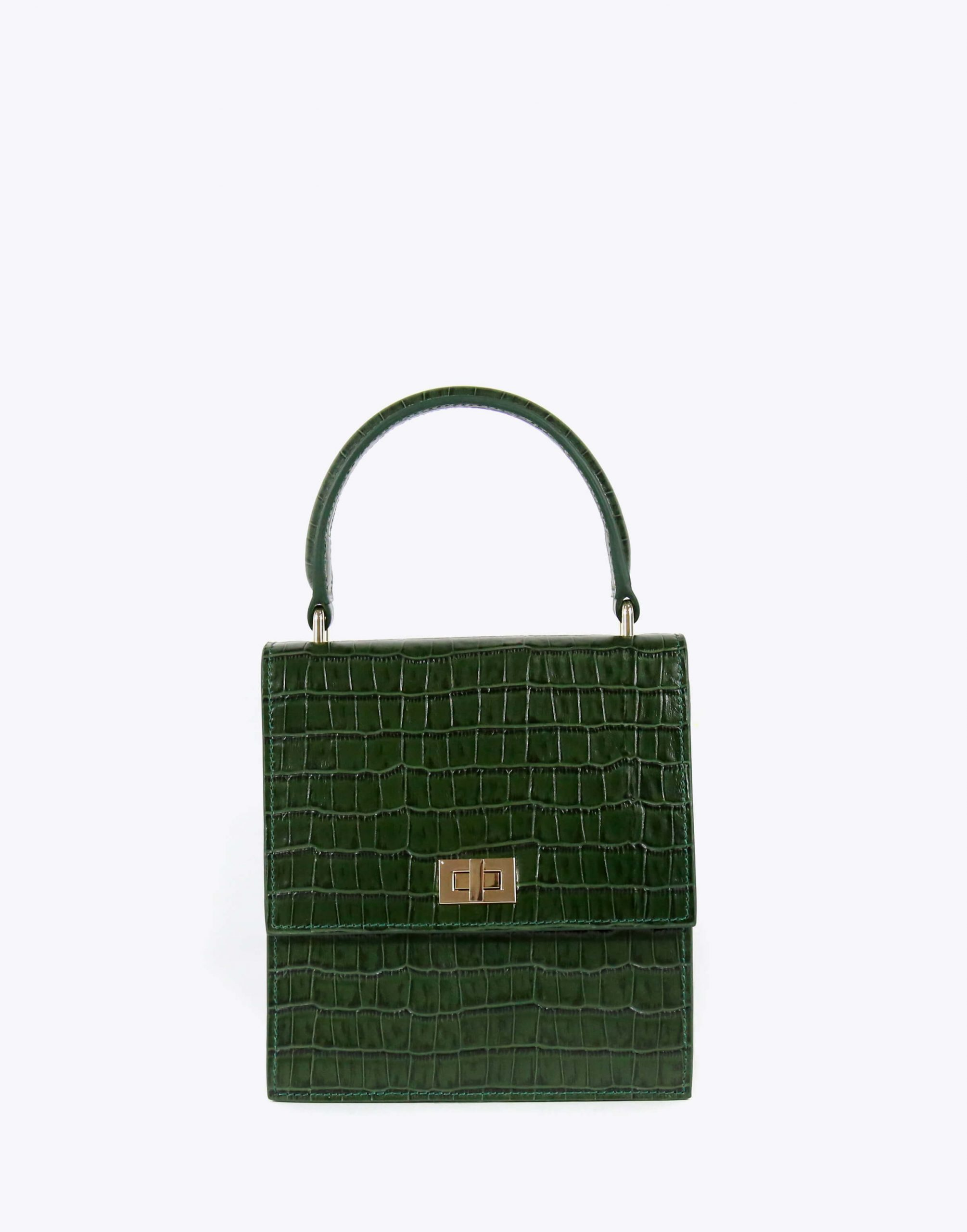 Neely & Chloe No. 19 Mini Lady Bag Croc Front View Green