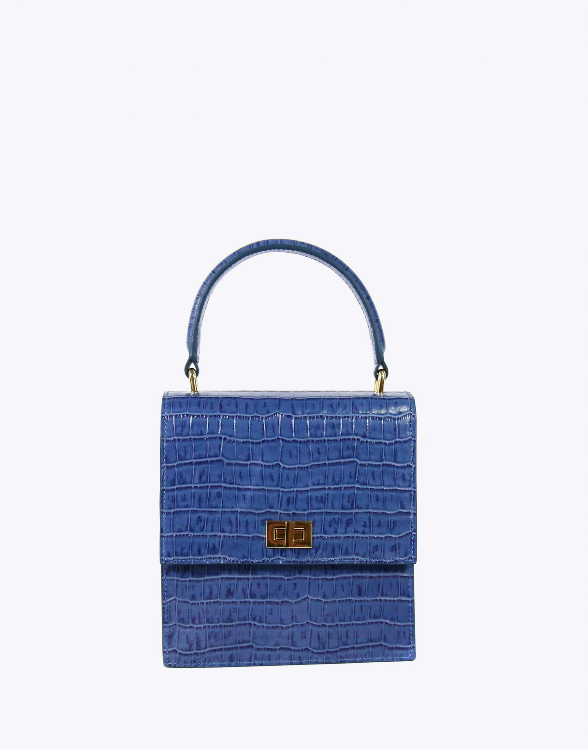 Neely & Chloe No. 19 Mini Lady Bag Croc Front View Moonlight Blue