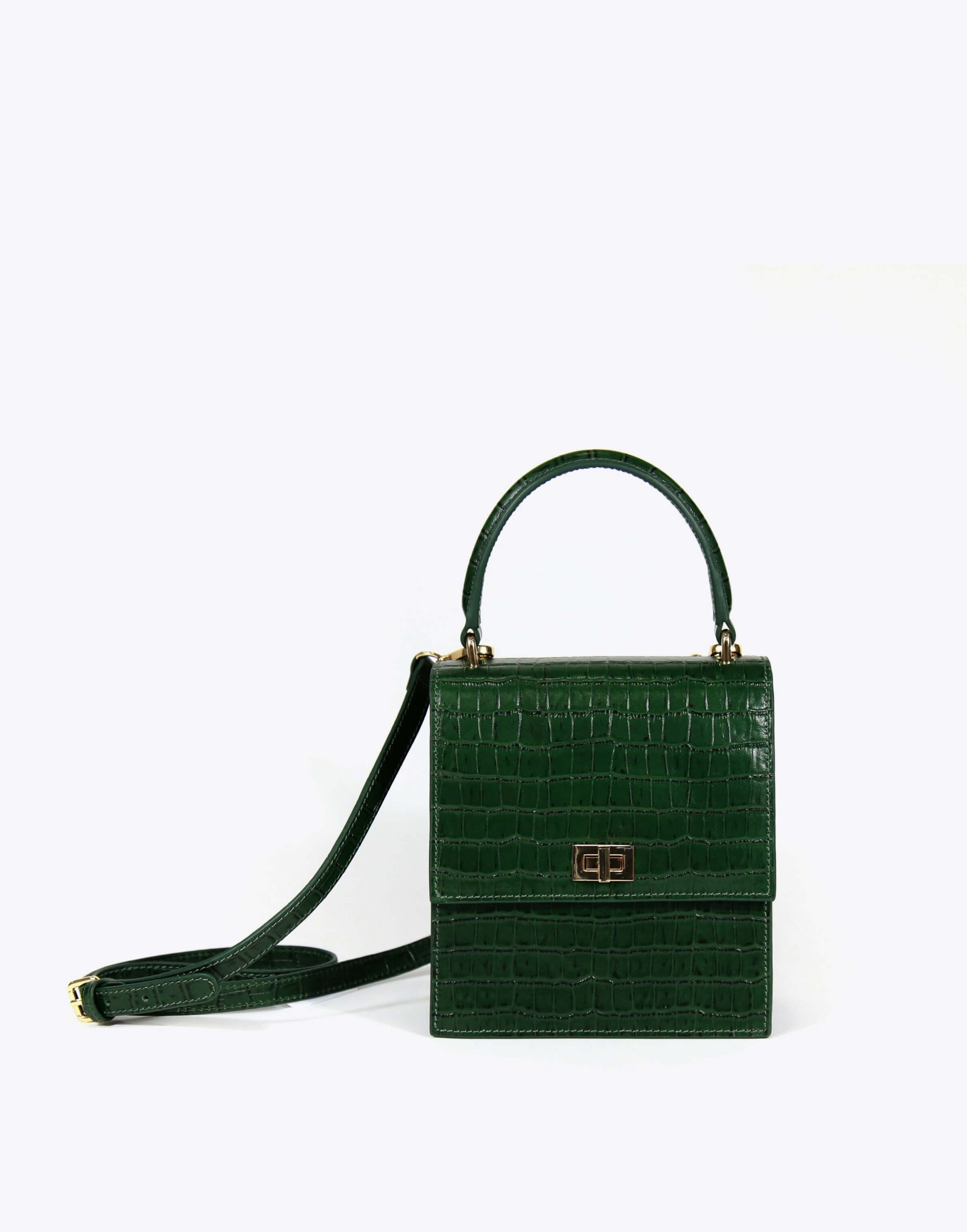 Neely & Chloe No. 19 Mini Lady Bag Croc Strap View Green