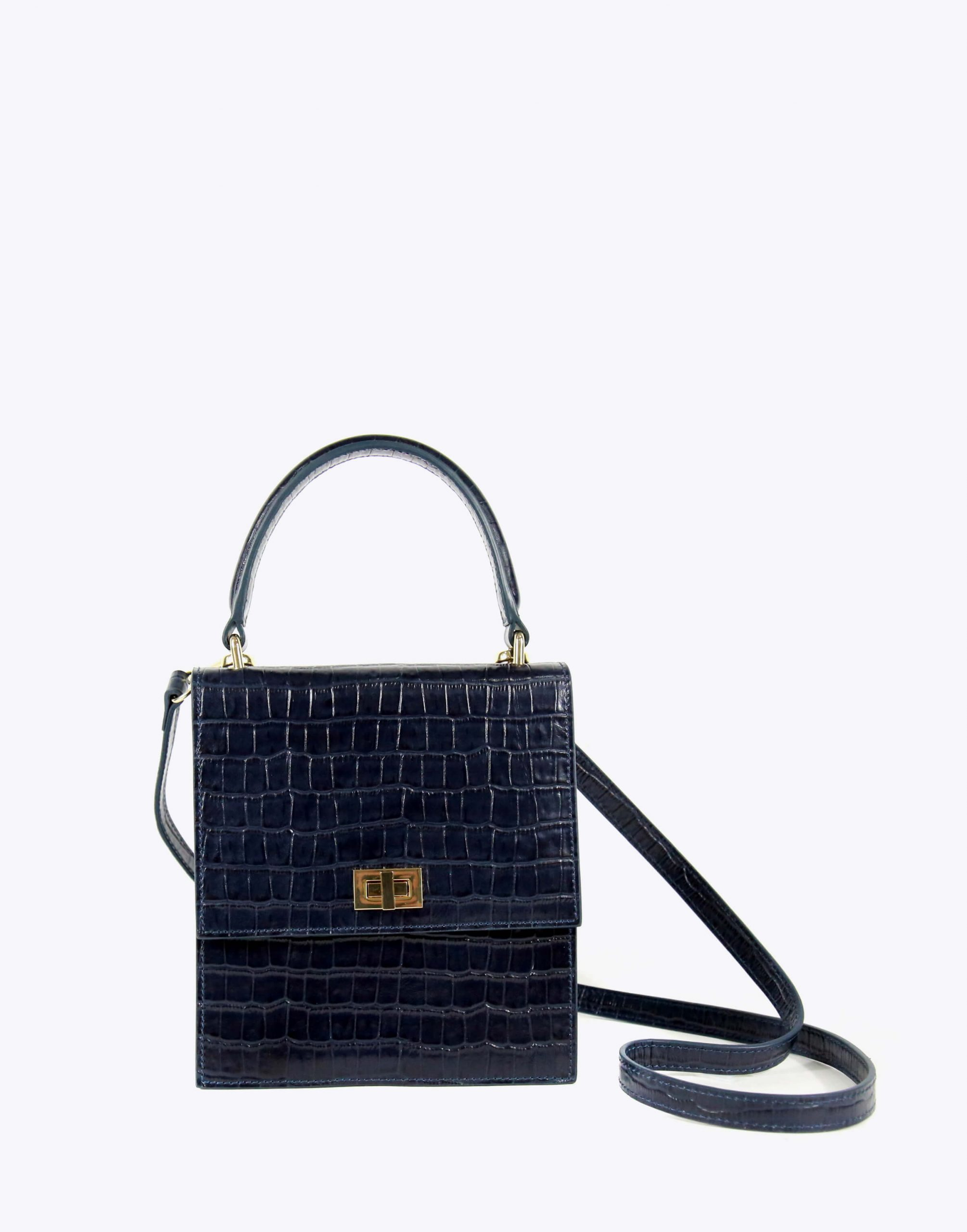 Neely & Chloe No. 19 Mini Lady Bag Croc Strap View Navy