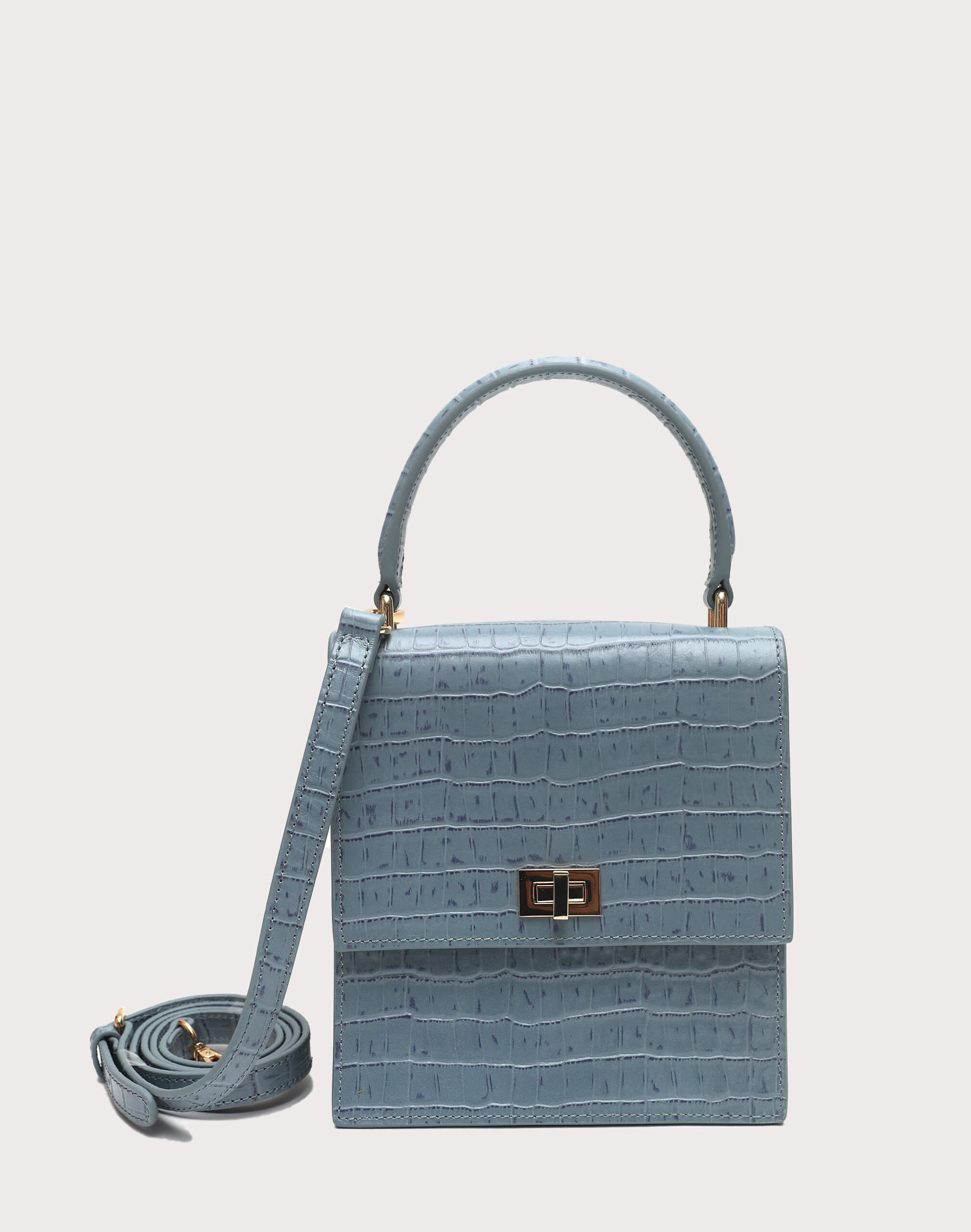 Neely & Chloe No. 19 Mini Lady Bag Croc Strap View Steel Blue