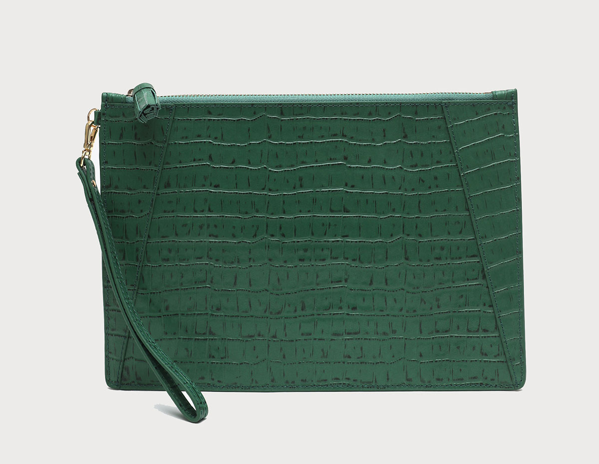 Neely and Chloe No. 9 Flat Clutch Croc Embossed Palm Green