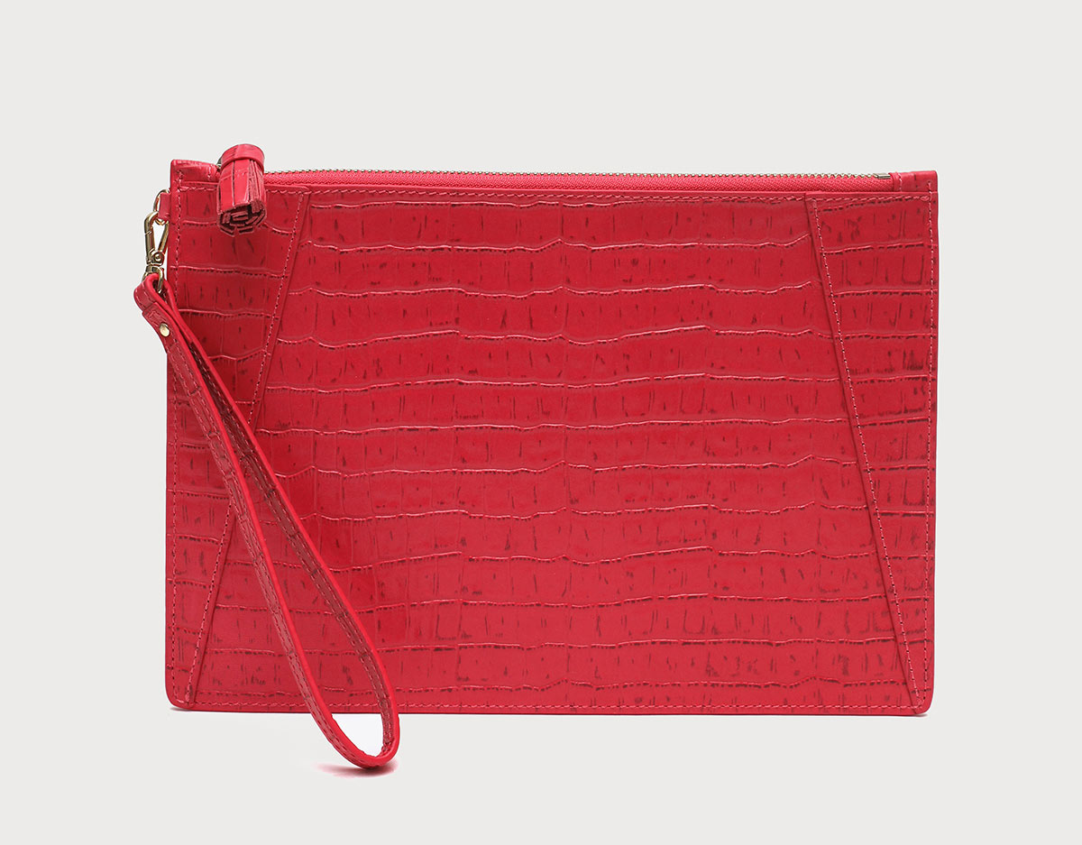 Neely and Chloe No. 9 Flat Clutch Croc Embossed Red Flamingo