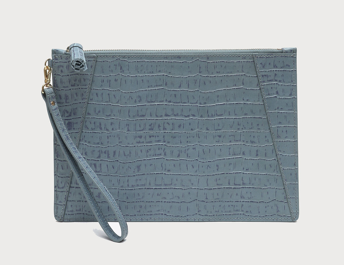 Neely and Chloe No. 9 Flat Clutch Croc Embossed Steel Blue