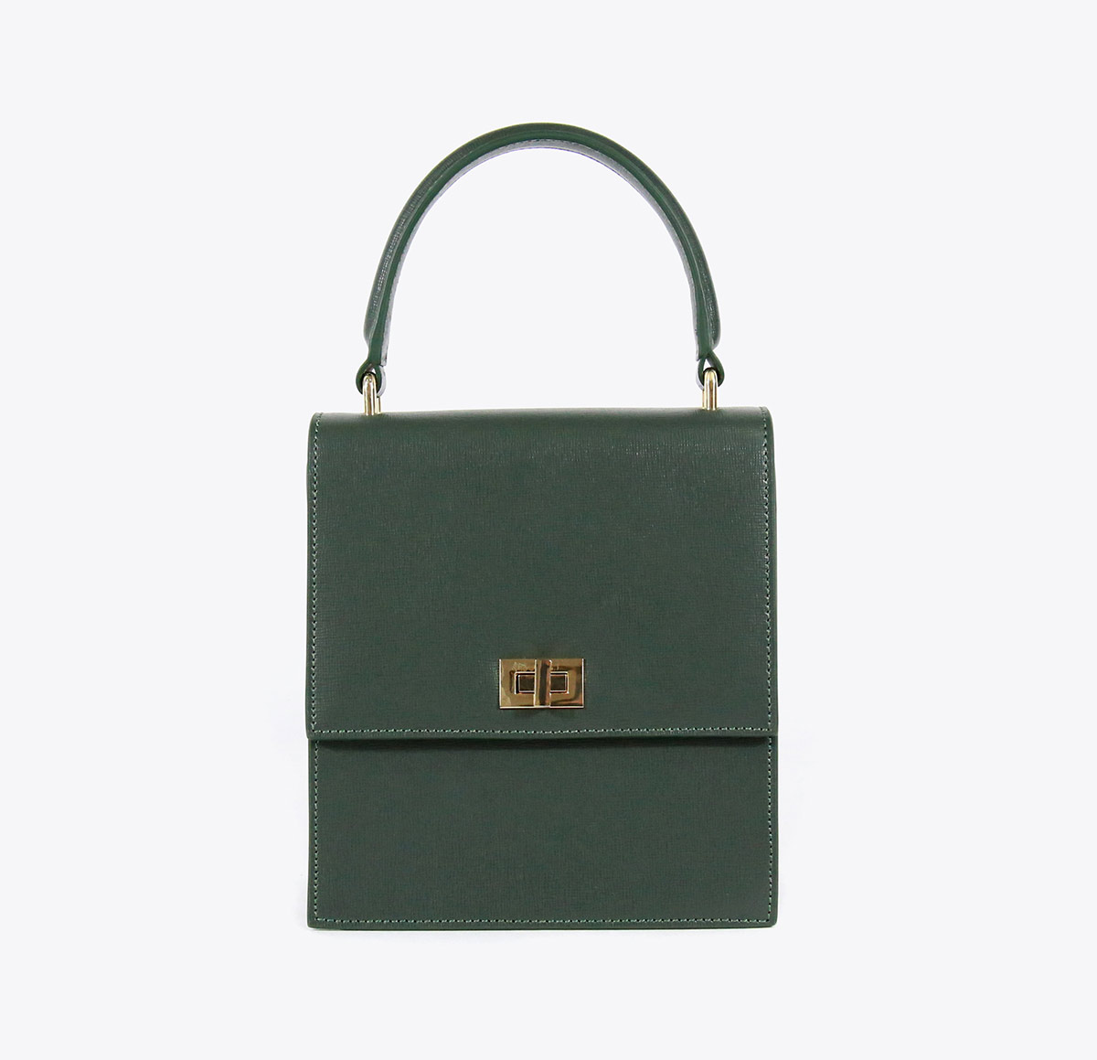 Neely and Chloe Saffiano Lady Bag Green front view