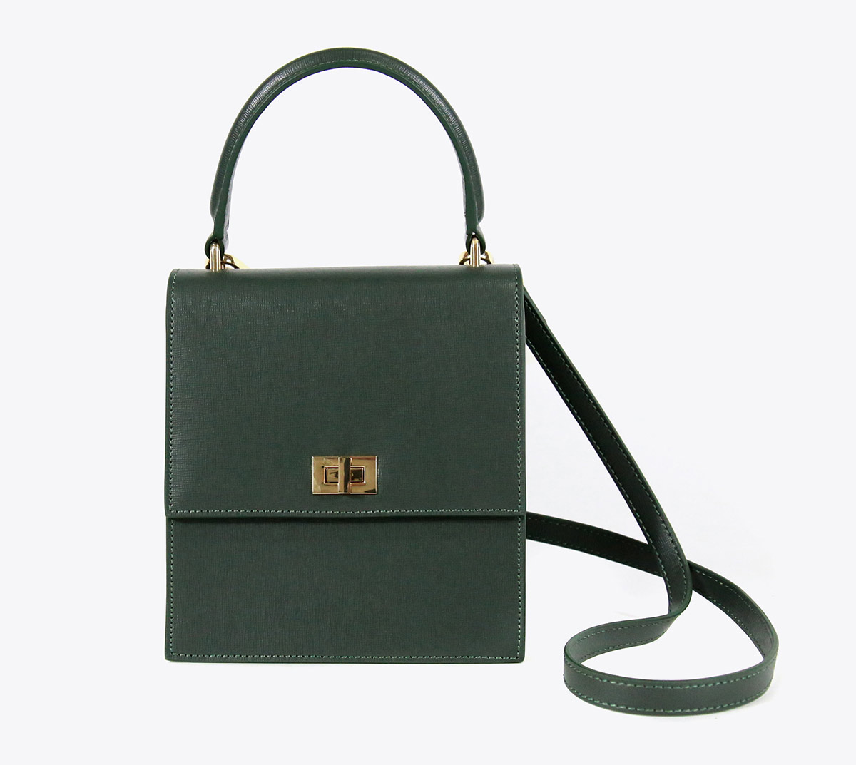 Neely and Chloe Saffiano Lady Bag Green front view with strap