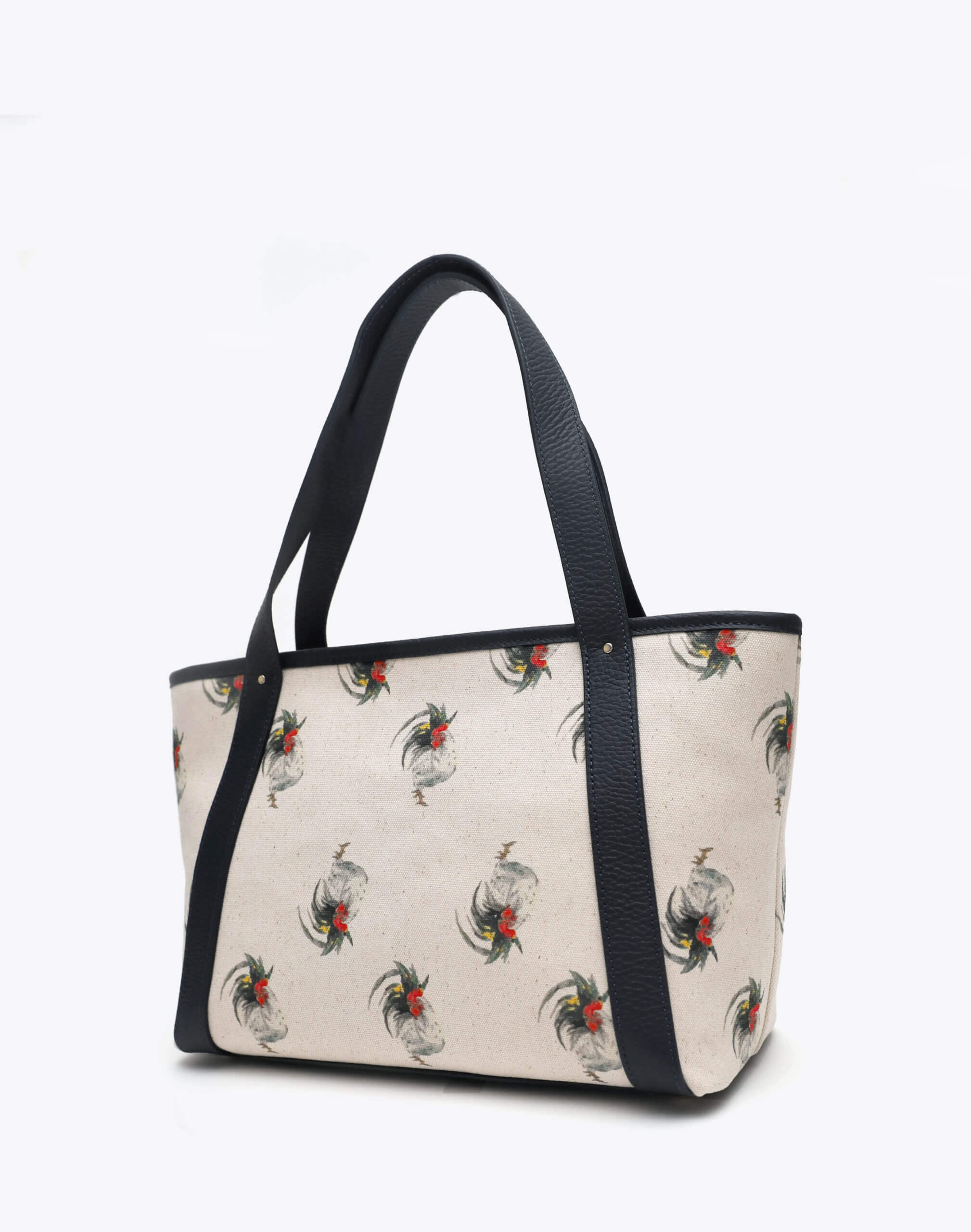 Neely and Chloe Chicken Print Travel Tote Angle View Black