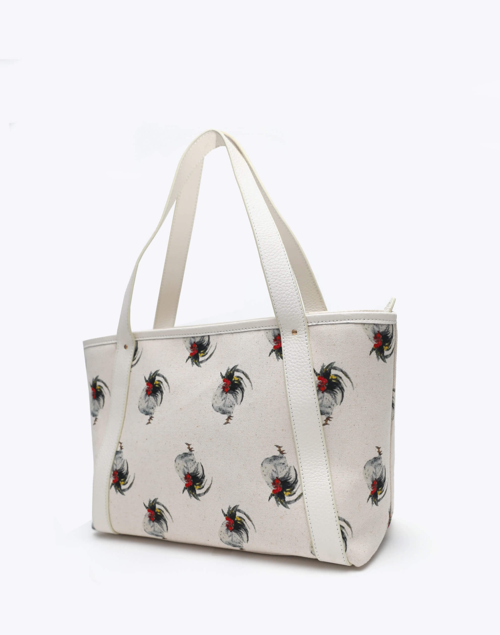 Neely and Chloe Chicken Print Travel Tote Angle View White