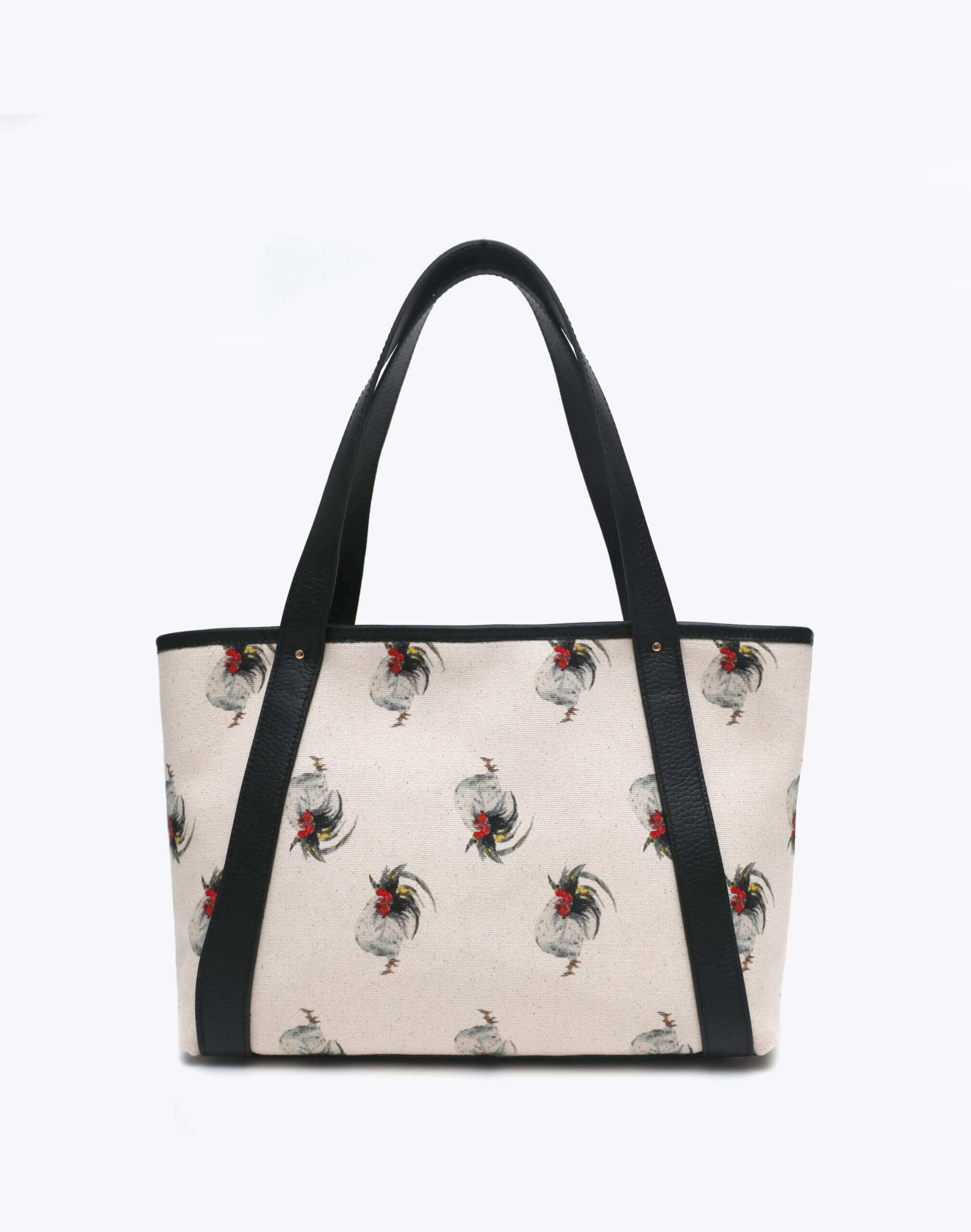Neely and Chloe Chicken Print Travel Tote Front View Black