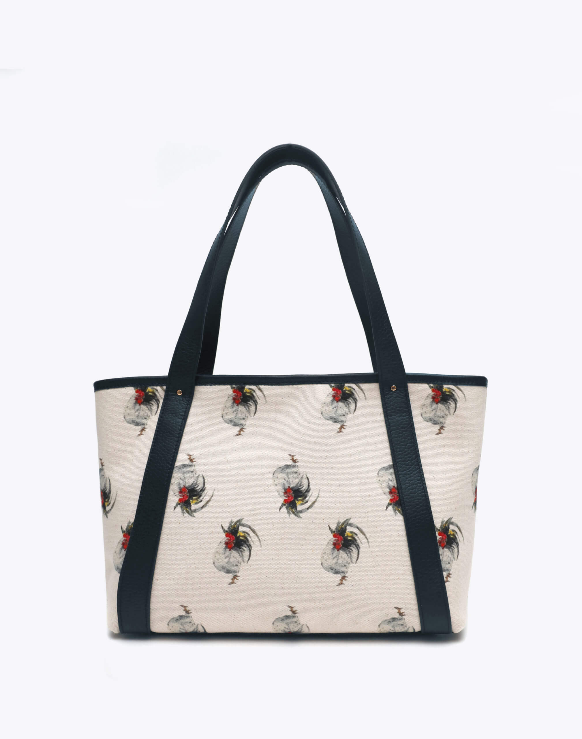 Neely and Chloe Chicken Print Travel Tote Front View Navy