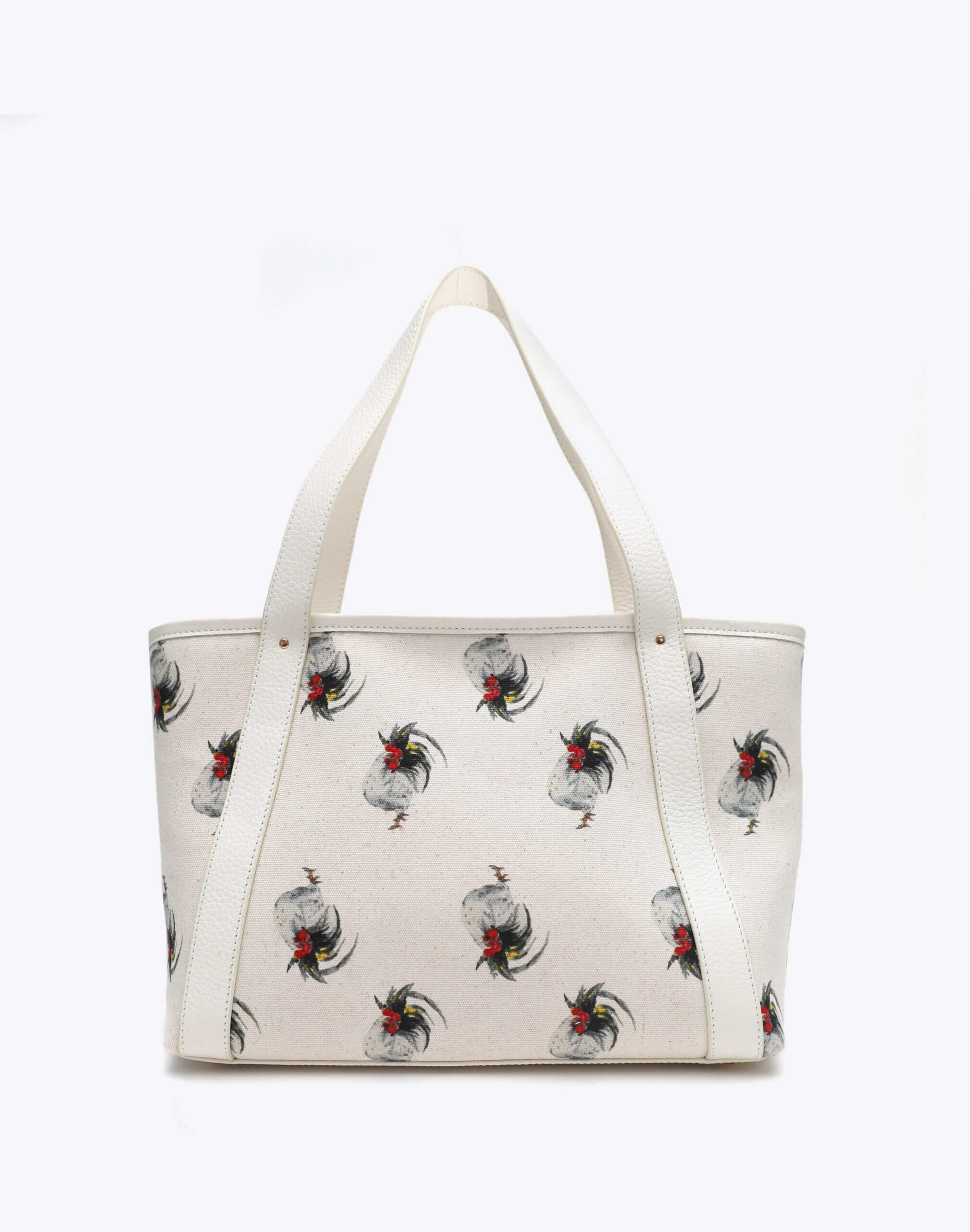 Neely and Chloe Chicken Print Travel Tote Front View White