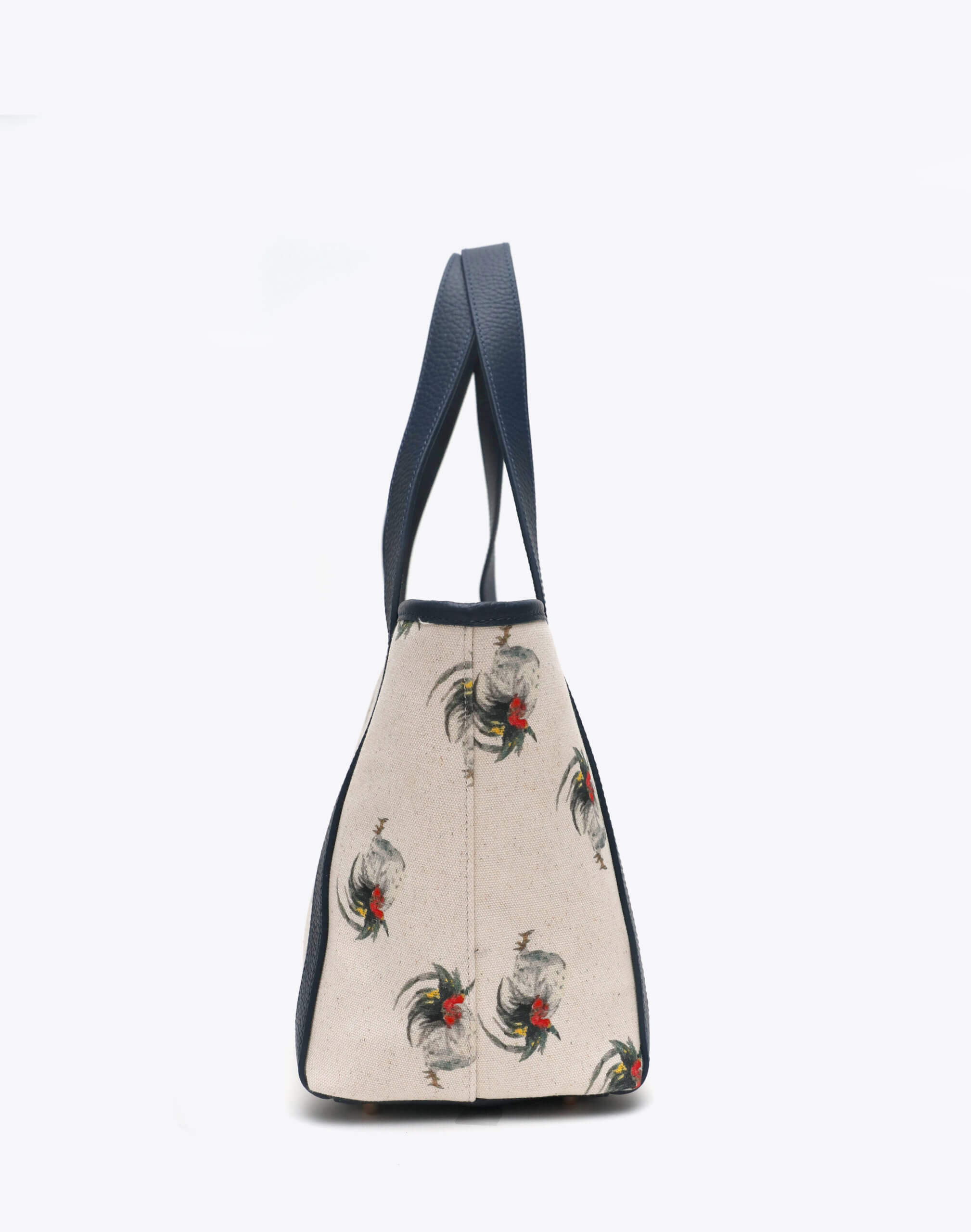 Neely and Chloe Chicken Print Travel Tote Side View Navy