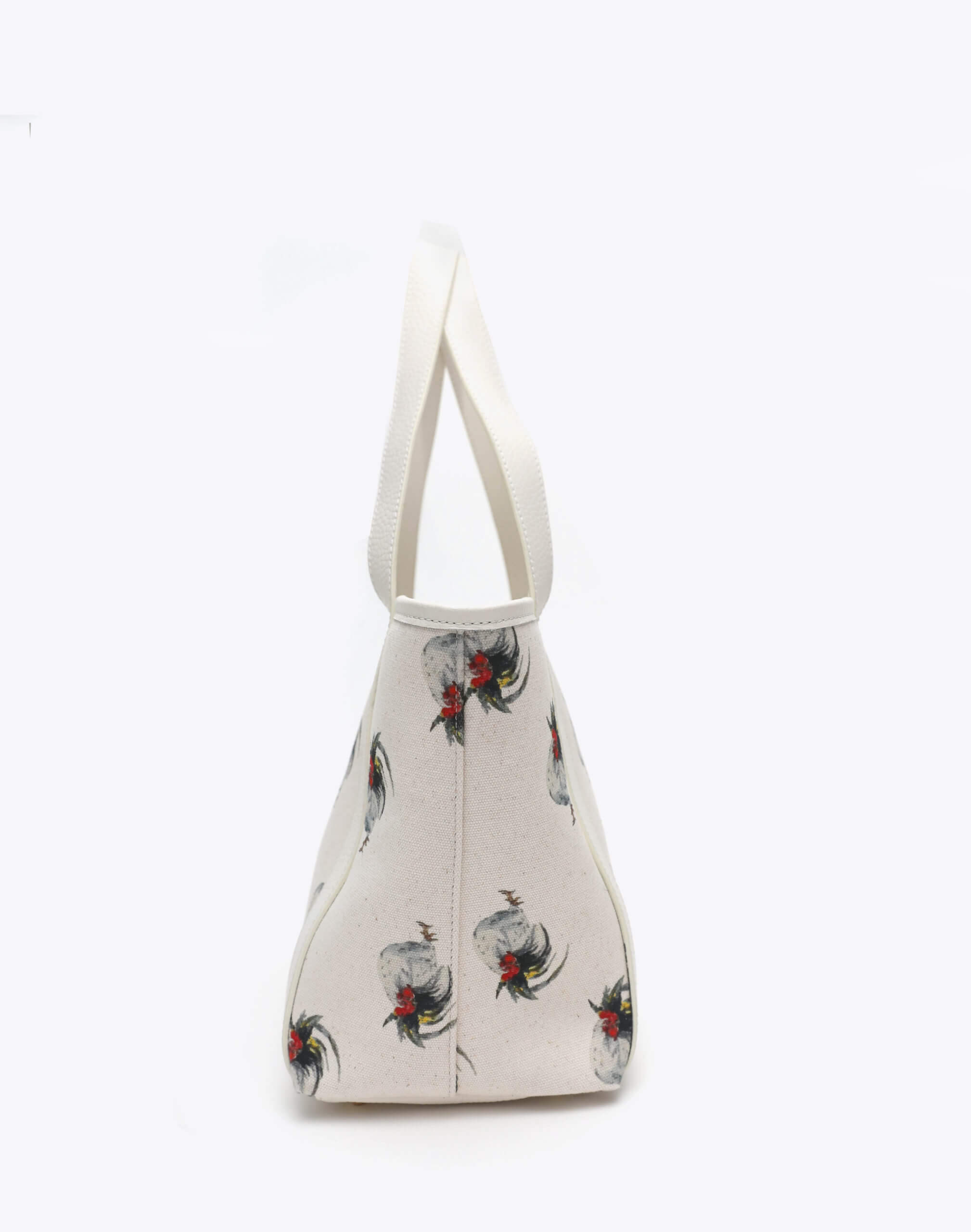 Neely and Chloe Chicken Print Travel Tote Side View White