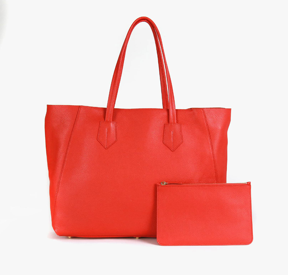neely and chloe no. 2 Large Tote scarlet front view with zip pouch