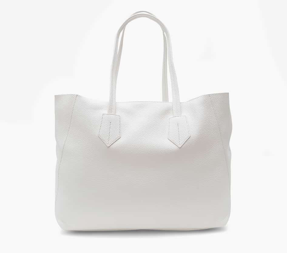 neely and chloe no. 2 Large Tote Pebbled leather White front view